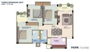 BPTP Park Floors 1 Floor Plan 3 bhk-1414-sq-ft