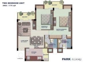 BPTP Park Floors 1 Floor Plan-2-bhk-1170-sq-ft