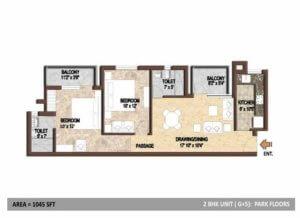 BPTP Park Floors 1 Floor Plan-2BHK-1042